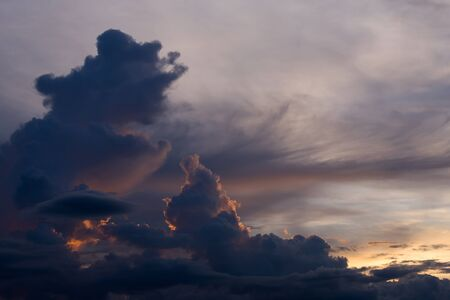 moody sky: twilight blue sky with cloudy, beautiful dramatic moody sky background Stock Photo