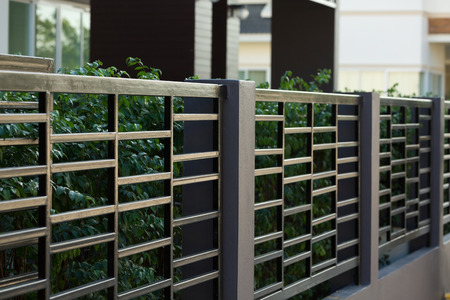 black steel fence of residential house modern style