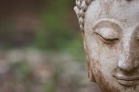 cabeza de buda: estatua de Buda en wat umong, Chiang Mai, recorrido templo tailandés en el norte de Tailandia, Tailandia