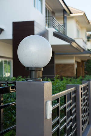 light lamp modern style on front gate of decoration residential house