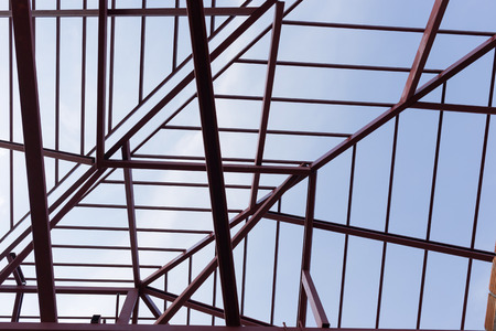 roof beam: structural steel beam on roof of building residential construction Stock Photo