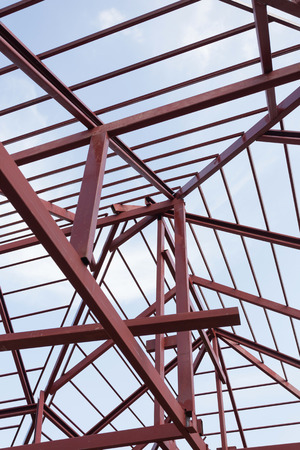 structural steel beam on roof of building residential construction Stock Photo