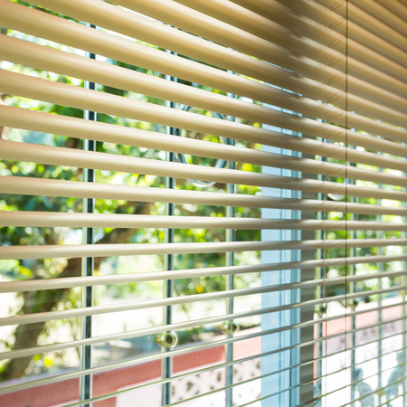window blinds open with blur natural view background
