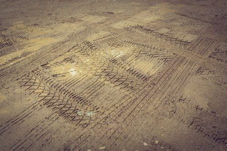 off road: wheel trace off road on muddy soil Stock Photo