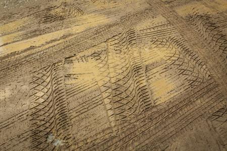 muddy: wheel trace off road on muddy soil Stock Photo