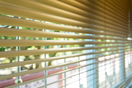 window blinds: window blinds open in home, image blur background