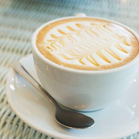 hot coffee caramel macchiato in cafe coffee shop