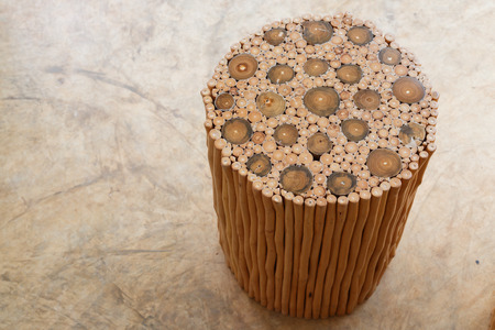 silla de madera: handcraft furniture of wooden chair and table made from wood stick