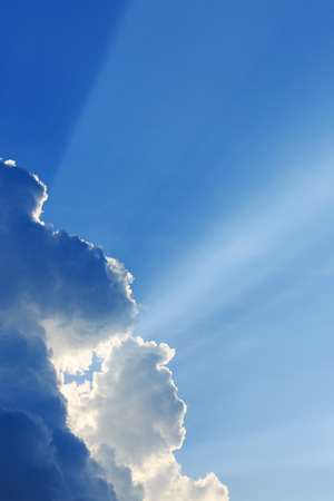 good heavens: light rays on clear blue sky