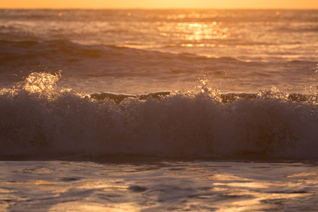 landscape of summer sea, sea surf splashing wave with sunlight in the morning day Stock Photo