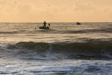 coastal: fishing coracles on sea, tribal boats at fishing village in vietnam Stock Photo