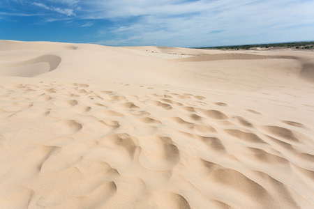 desert footprint: footprint on white sand dune desert in Mui Ne, Vietnam