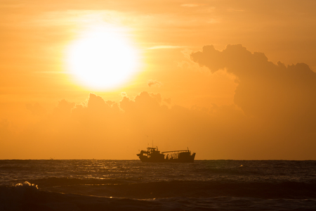 landscape of sea, nautical fishing boat in sea with beautiful sky sunrise in the morning