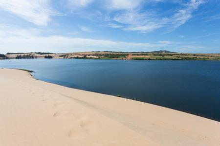desert footprint: footprint on white sand dune desert and lake in Mui Ne, Vietnam