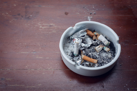 stub: cigarette stub in ashtray, image no smoking concept background