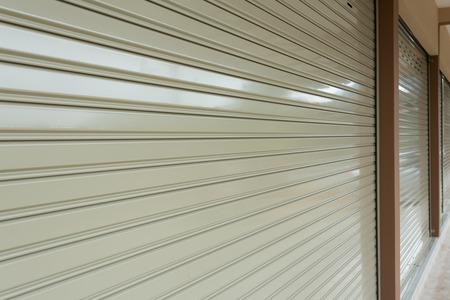 aluminium: roller shutter door in warehouse building, aluminium steel metal door Stock Photo