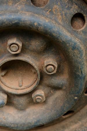 alloy wheel: old rusty metal alloy wheel car vehicle