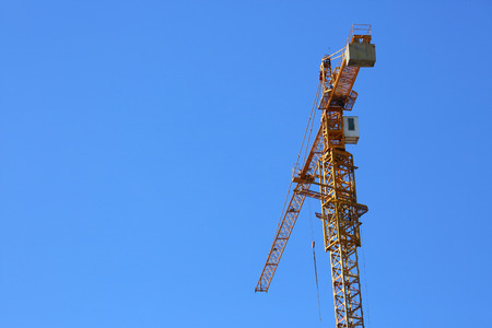 hydraulic lift: machinery crane construction, tool of building industry Stock Photo