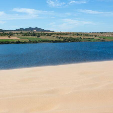 white sand dune desert in Mui Ne, Vietnam Stock Photo