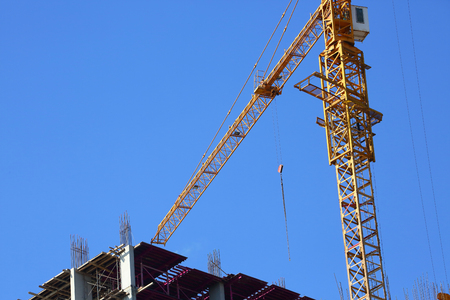 machinery crane construction, tool of building industry Stock Photo