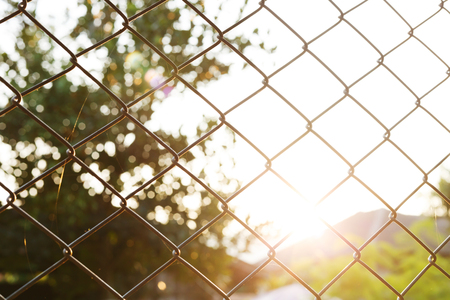 steel wire mesh fence with sunlight background Stock Photo