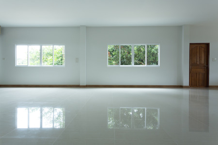 empty white room interior in residential house building with tile flooring and window pvc replacement decoration