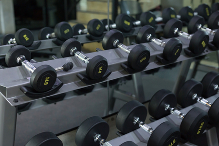 lb: dumbbell set in fitness gym workout weights traning sport club center