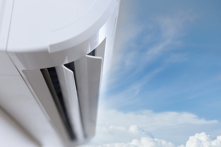 air conditioner cooling fresh system saving energy with clear blue sky background