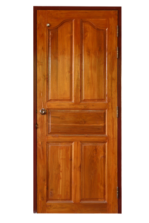 brown wood door closed isolated on white background Stock Photo - 80769821