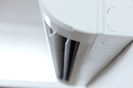 air conditioner cooling fresh system saving energy on white wall background