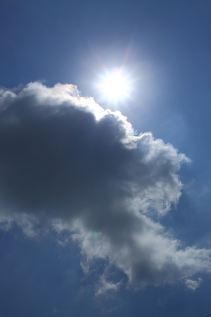 sun in blue sky with cloud, light rays solar of clean energy power, clear weather background
