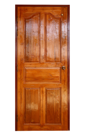 brown wood door closed isolated on white background Stock Photo