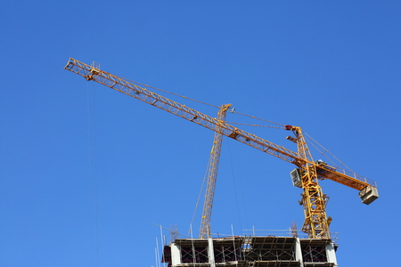 construction site building industry with machinery crane working Stock Photo