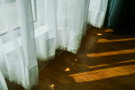 sunlight through white curtain in the morning Stockfoto