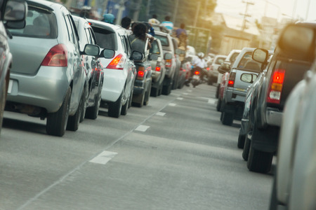 road traffic jam in rush hour city life