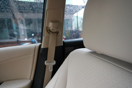 interior vehicle luxury inside car, close-up seat headrest leather 版權商用圖片