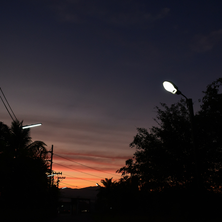 street light in the evening time with twilight sky background