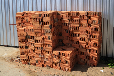 brick block building material in construction site industry 免版税图像 - 122014589