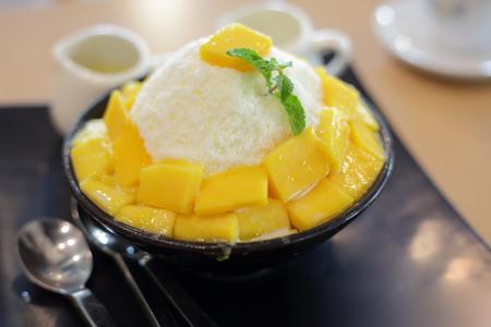 mango fruit topping on sweet iced tasty