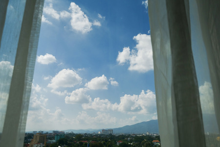 clear blue sky with cloud natural view outside the window