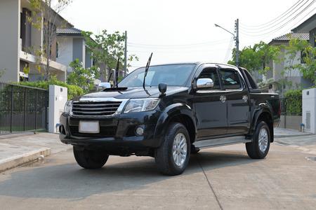 black pickup vehicle car Stock Photo