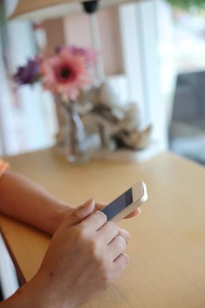 woman using app internet in mobile phone Stok Fotoğraf