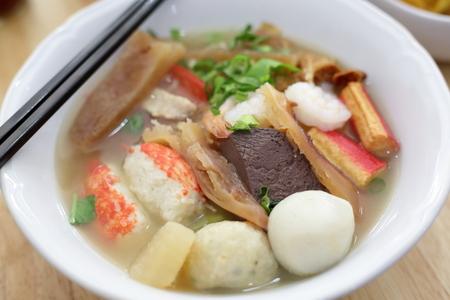 seafood yentafo noodle of asia food tasty Stock Photo