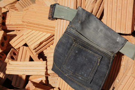 waist bag denim put tool for construction worker industry Archivio Fotografico - 122654711