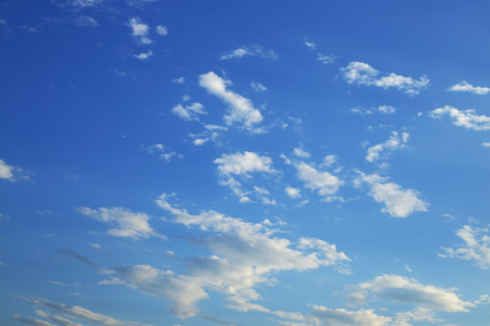 fluffy white cloud moving above clear blue sky in the morning day