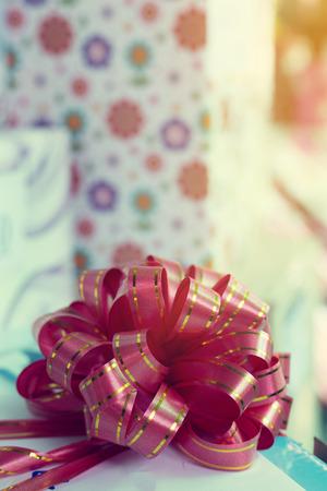 ribbon bow on gift box