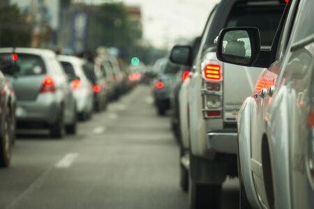 traffic jam on road rush hour Stock Photo