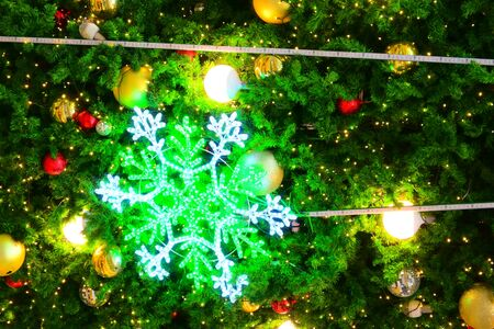 beautiful snowflake led and light ball decoration on christmas tree ornament