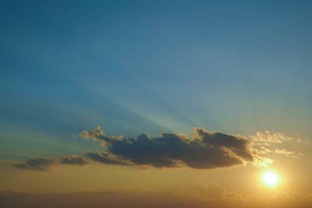 light rays of sun above clear blue sky Stock Photo - 138440783