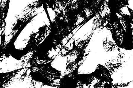 abstract black brush stroke of watercolor drawing paint texture on white background Standard-Bild